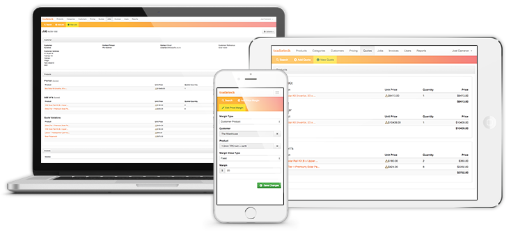 Tradietech workflow management software can be used on multiple devices.